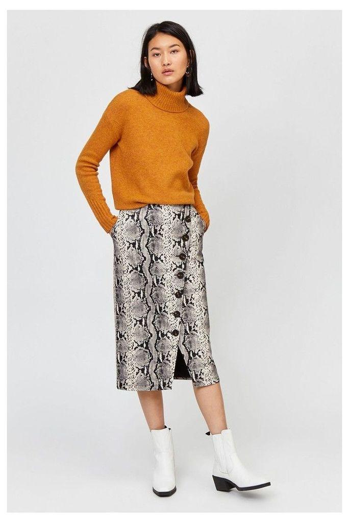 Womens Warehouse Snake Print Faux Leather Midi Skirt -  Animal