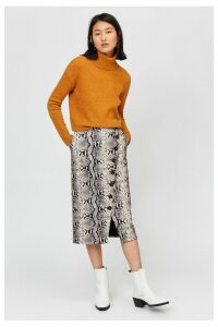 Womens Warehouse Snake Print Faux Leather Midi Skirt -  Animal