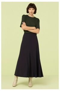 Womens Finery London Blue/Navy Roxley Crepe Midi Skirt -  Blue
