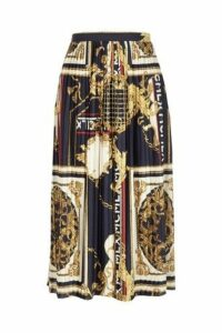 Womens River Island Blue Pleated Chain Print Midi Skirt -  Blue