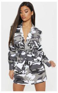 Grey Camouflage Utility Tie Waist Shirt Dress, Grey