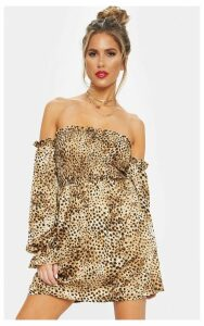 Brown Shirred Leopard Print Smock Dress, Brown