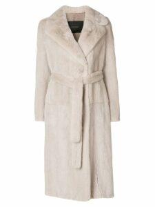 Blancha mink fur belted coat - Neutrals