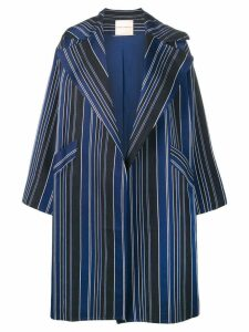 Erika Cavallini oversized striped coat - Blue
