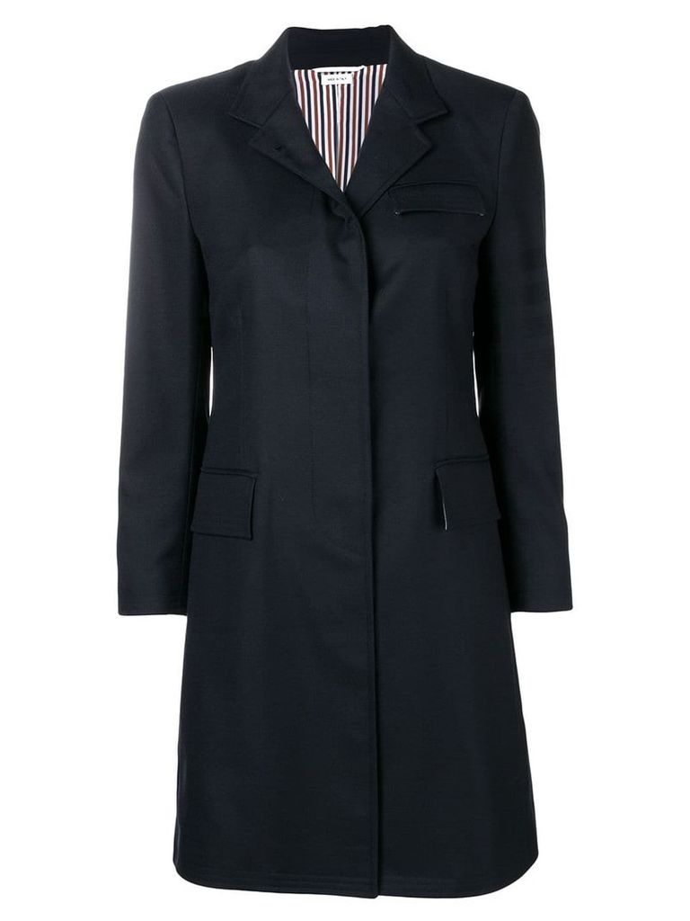 Thom Browne Sateen 4-Bar Chesterfield Overcoat - Blue