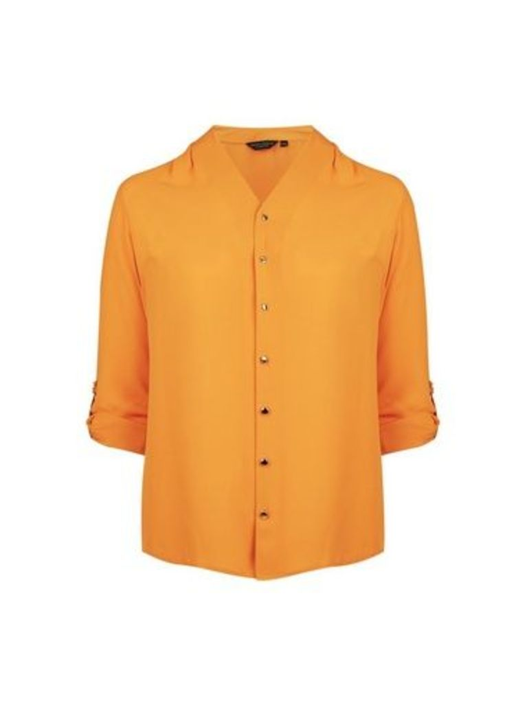 Womens **Dp Curve Yellow Roll Sleeve Shirt- Orange, Orange