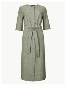 M&S Collection Linen Rich Tie Waisted Midi Dress