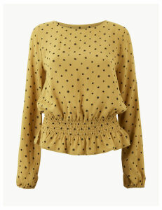 M&S Collection Printed Smocked Waist Blouse