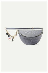 Balenciaga - Souvenir Xs Aj Embellished Quilted Leather Belt Bag - Gray