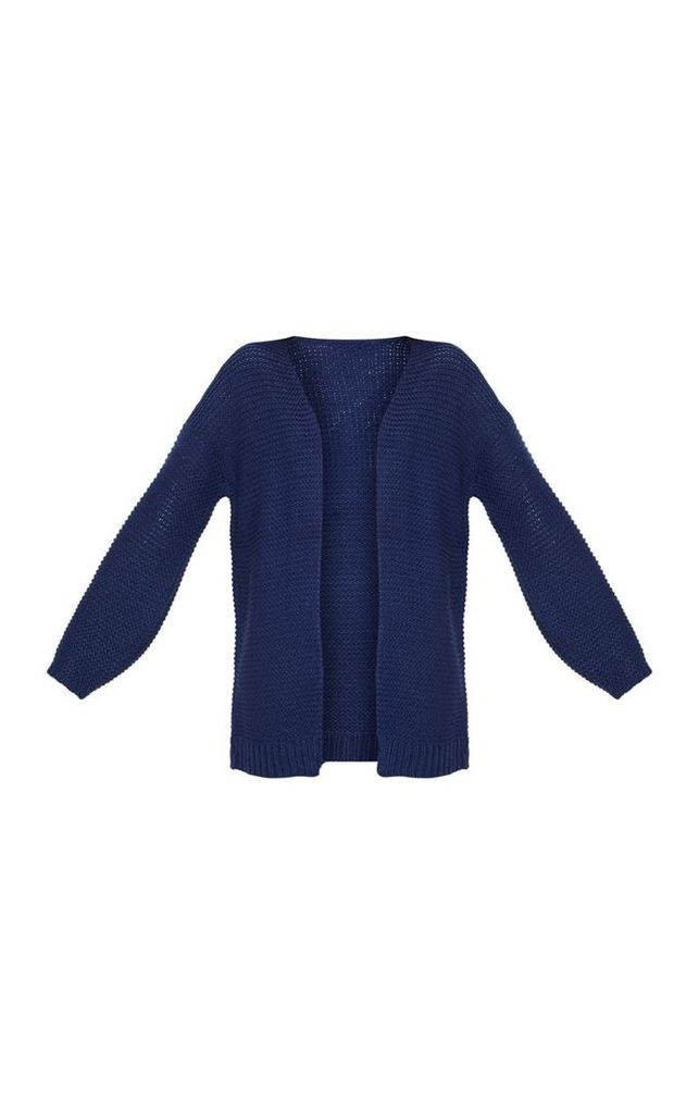 Navy Chunky Knitted Cardigan, Blue