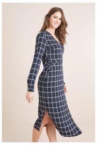 Womens Next Navy Check Midi Wrap Dress -  Blue