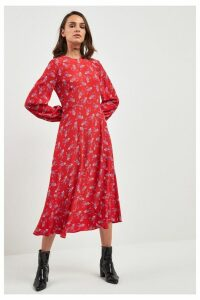 Womens Next Red Floral Midi Dress -  Red