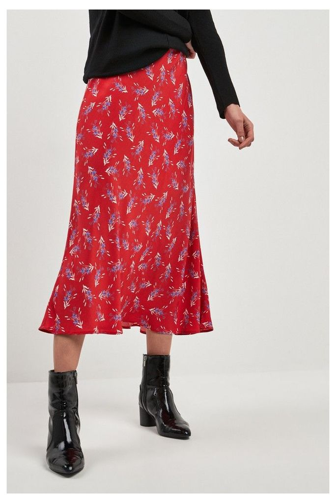 Womens Next Red Floral Print Midi Skirt -  Red