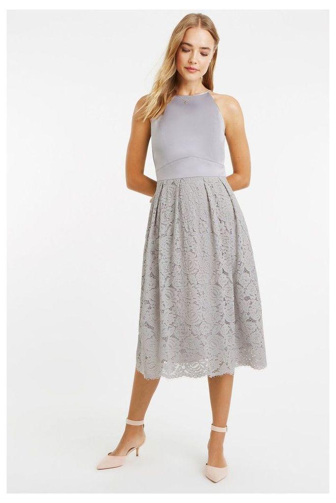 Womens Oasis Grey Satin Bodice Lace Midi Dress -  Grey
