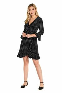 Womens Adrianna Papell Black Multi Pindot Printed Ruffle Wrap Dress -  Black