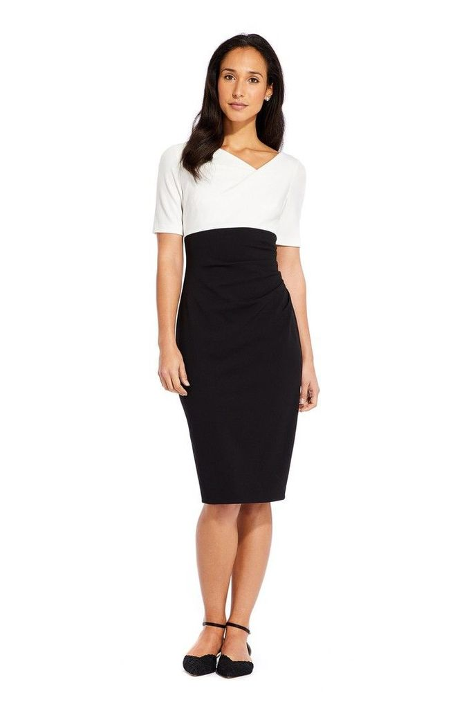Womens Adrianna Papell Black/Ivory Colorblock Crepe Sheath Dress -  Black