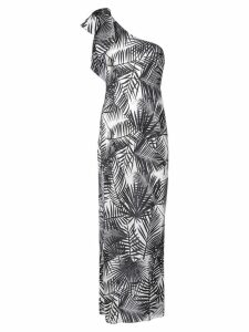 Fleur Du Mal palms print single-shoulder dress - NEUTRALS