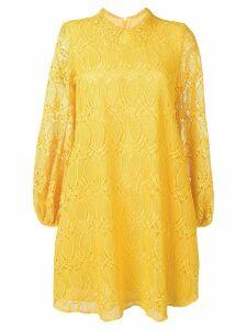 Giamba flared lace dress - Yellow