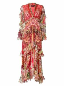 Etro long mixed print dress - Red