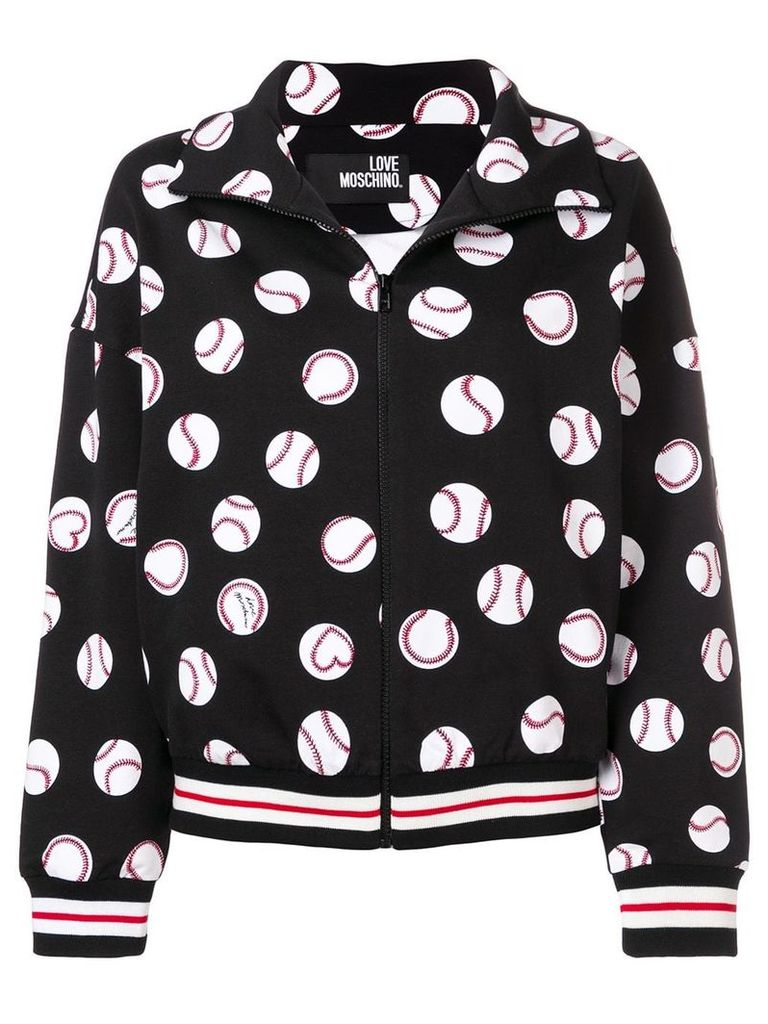 Love Moschino baseball ball print jacket - Black
