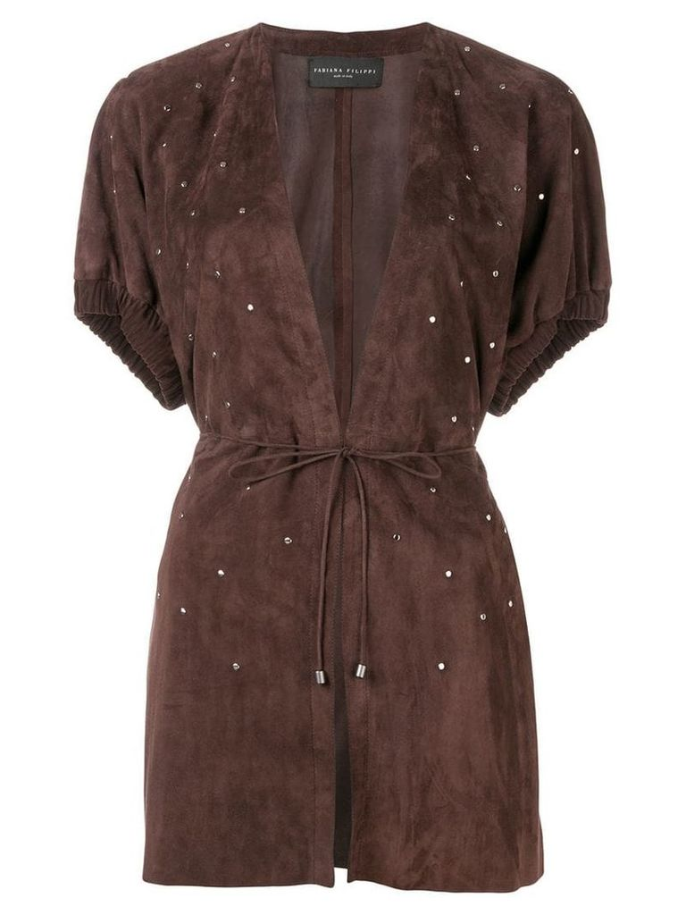 Fabiana Filippi studded shortsleeved jacket - Brown