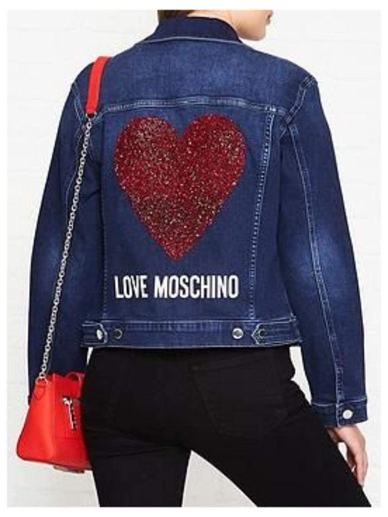 Love Moschino Embellished Logo Denim Jacket - Navy
