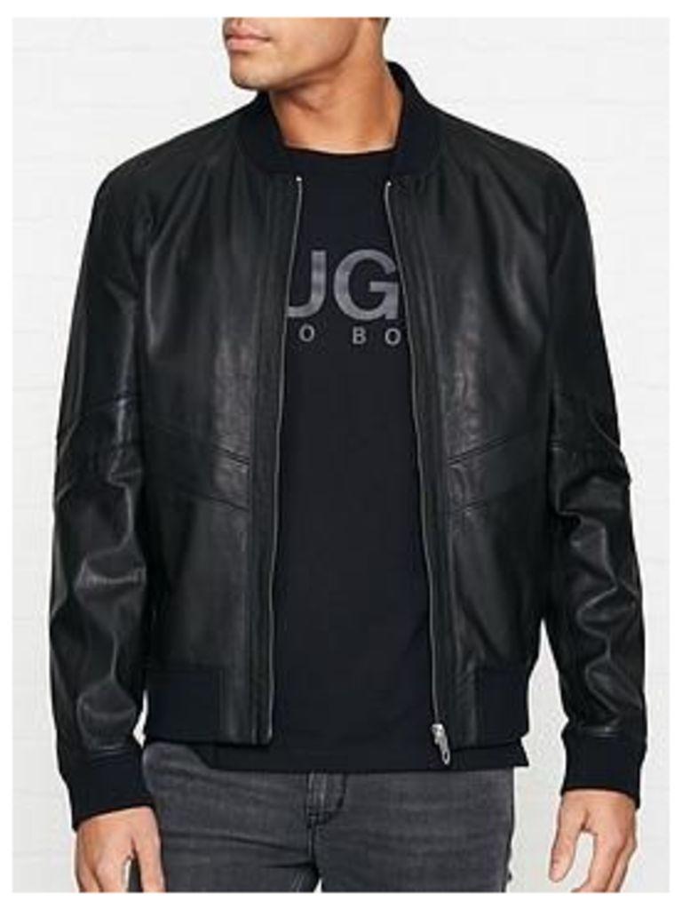 Hugo Lachlan Leather Bomber Jacket - Black