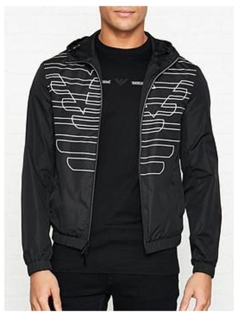 Emporio Armani Reversible Logo Print Hooded Pack Away Jacket - Black