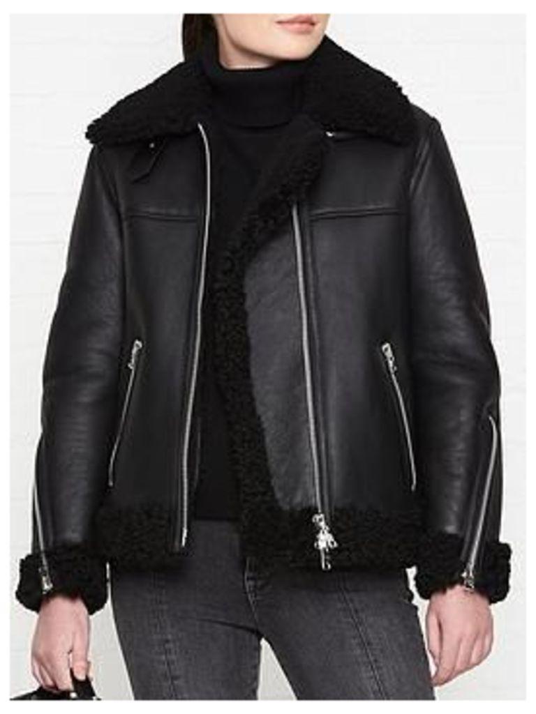 Allsaints Jaya Shearling Biker Jacket - Black