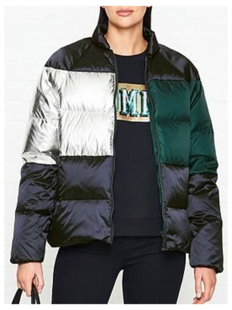 Tommy Hilfiger Metallic Colourblock Down Padded Jacket - Navy/Green