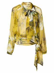 Michelle Mason gathered chiffon blouse - Yellow