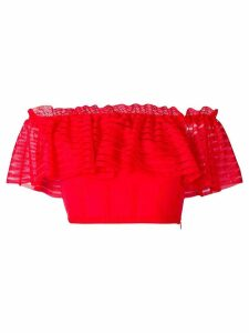Alexander McQueen cropped off-the-shoulder top - Red