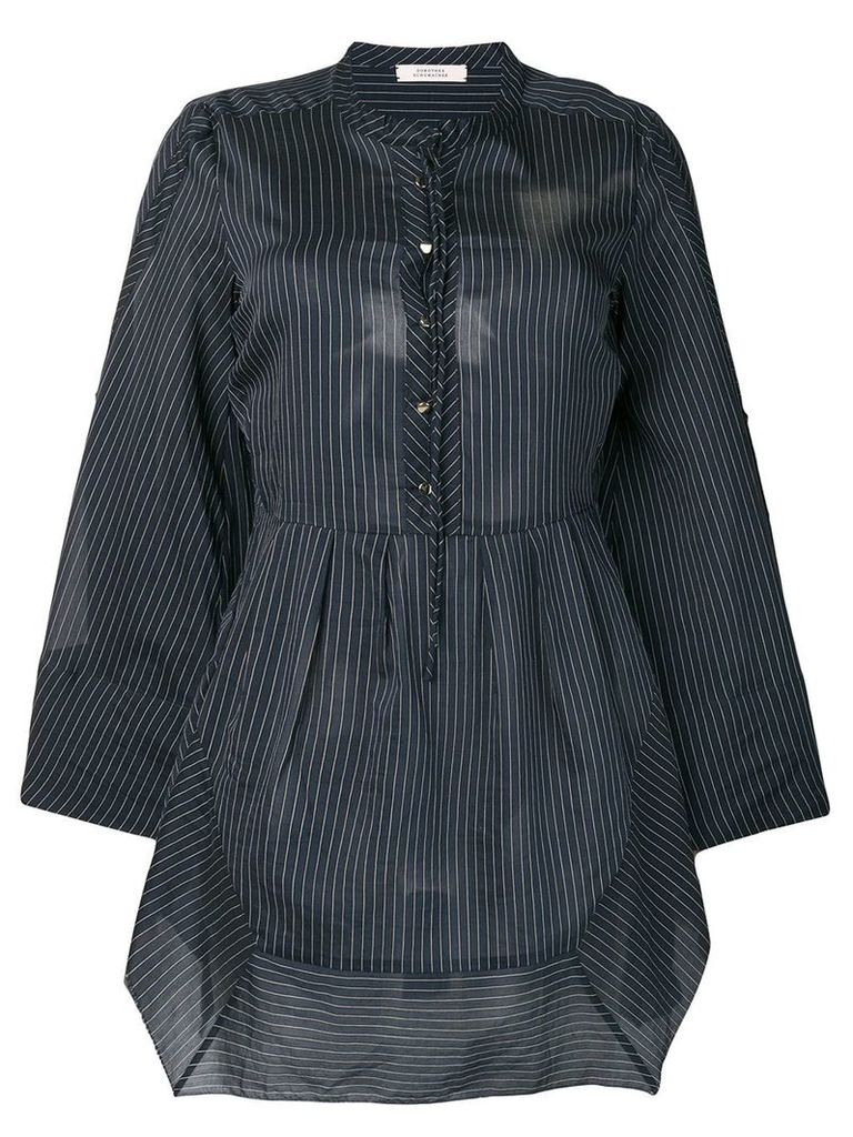 Dorothee Schumacher striped asymmetric hem shirt - Blue
