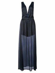 Fleur Du Mal lurex stripe gown - Blue