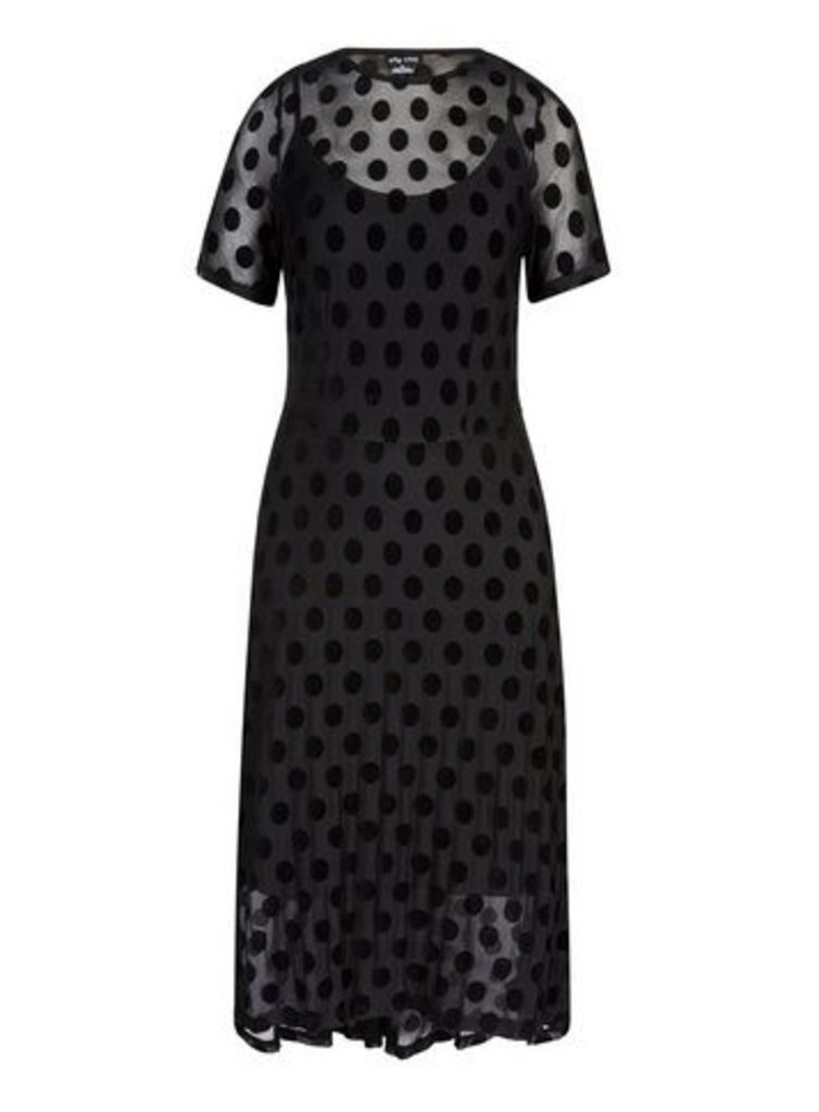 **City Chic Black Polka Dot Dress, Black