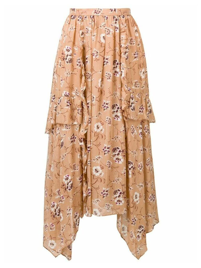 Ulla Johnson floral print asymmetric skirt - Brown