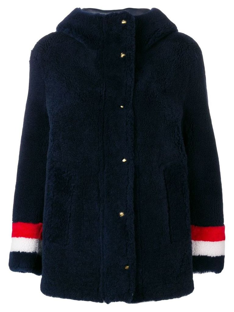 Thom Browne Reversible Hooded Shearling Parka - Blue
