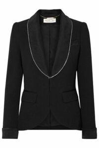 Rachel Zoe - Tyler Crystal-embellished Satin-trimmed Crepe Blazer - Black