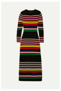PAPER London - Striped Ribbed Wool Midi Dress - Black