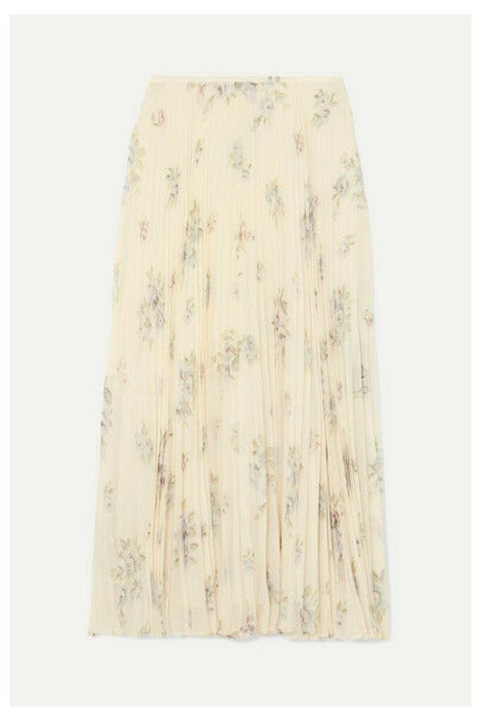 Joseph - Abbot Pleated Floral-print Silk-chiffon Midi Skirt - Off-white