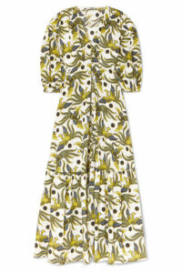 KENZO - Tiered Printed Cotton-poplin Midi Dress - Green