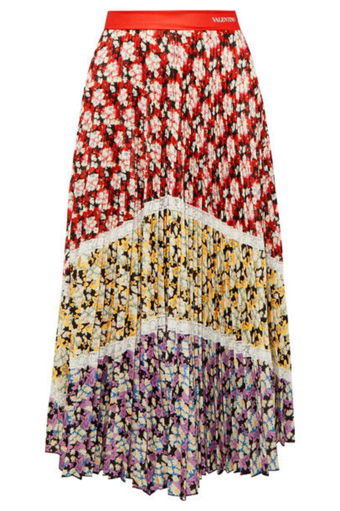 Valentino - Lace-trimmed Pleated Floral-print Crepe Midi Skirt - Red