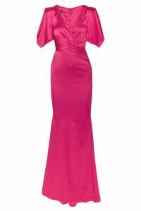 Talbot Runhof - Ruched Duchesse-satin Gown - Pink