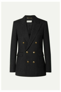 SAINT LAURENT - Double-breasted Pinstriped Wool Blazer - Black