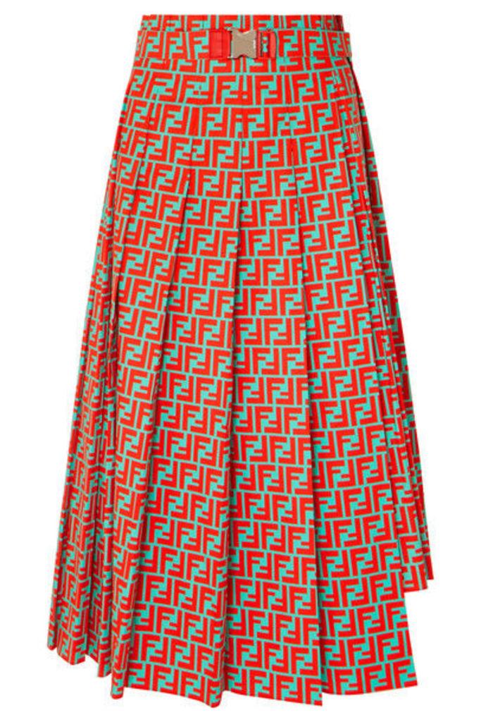 Fendi - Asymmetric Pleated Printed Cotton-poplin Skirt - Red
