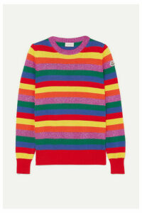 Moncler - Striped Metallic Cotton Sweater - Bright yellow