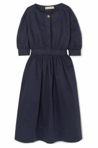 Marni - Belted Cotton And Linen-blend Twill Midi Dress - Navy