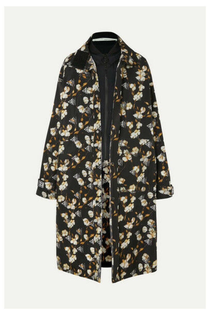 Off-White - Layered Rubber-appliquéd Floral-print Shell Jacket - Black