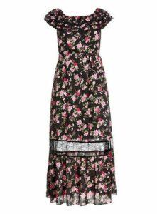 **City Chic Multi Coloured Floral Panel Maxi Dress, Dark Multi
