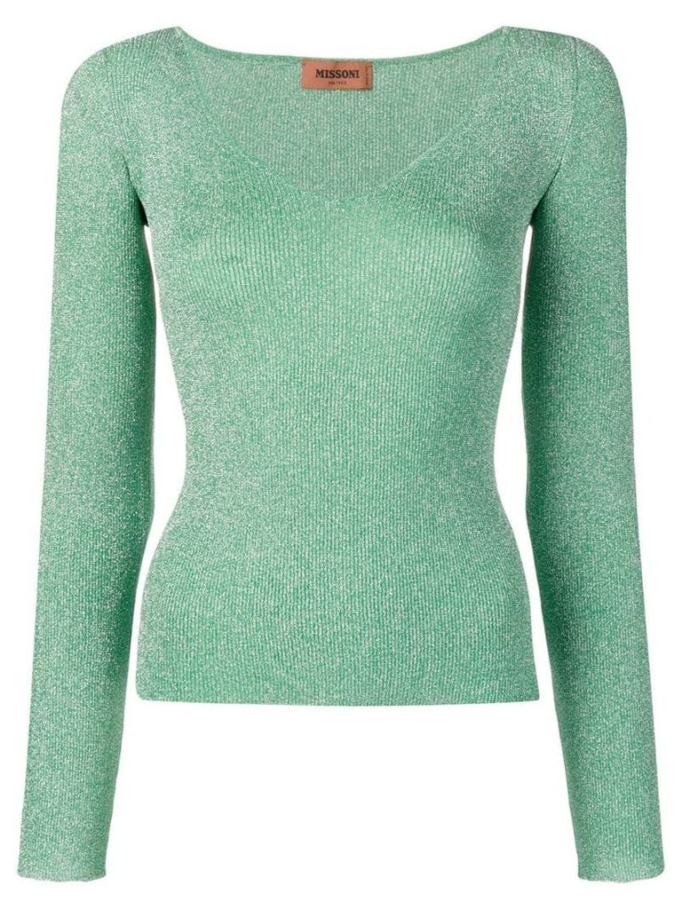 Missoni sparkly ribbed knit V-neck top - Green